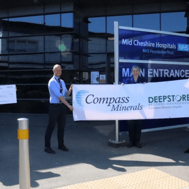 compass minerals and deepstore staff with Leighton Hospital donation
